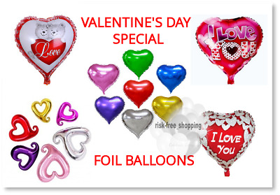 Foil Balloon Valentines Day Heart Shape Love Romantic His/her Gift Baloons