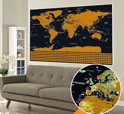 BIG Scratch Off World Map Poster with US States and Country Flags 82 x 59CM