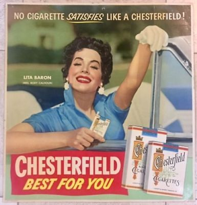 Chesterfield Cigarettes - Original 1940's Advertising Poster - Happy Woman Art!