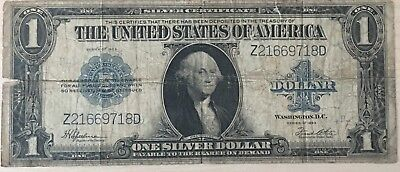 Series 1923 One Dollar Silver Certificate US Large Size Note Horse Blanket