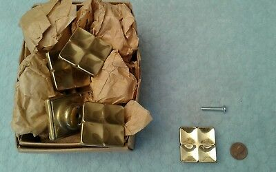 Square Brass Drawer Pulls Retro Modern Vintage NOS