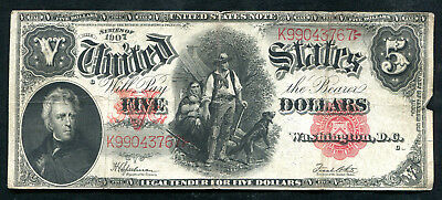 """Fr 91 1907 $5 Five Dollars """"Woodchopper"""" Legal Tender United States Note Vf"""