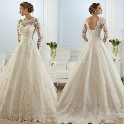 Long sleeves New White/Ivory Lace Wedding Dress Bridal Gown Size 2 4 6 8 10 12++