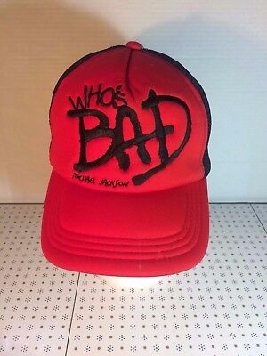 """Michael Jackson """"Who's Bad"""" 2009 Tour Mesh Trucker Hat One Size Fits All"""