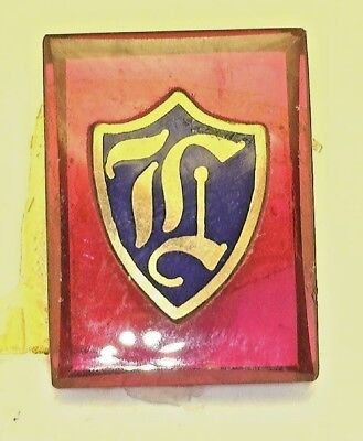 """NOS Antique Vintage Deco Red  Rectangle Stone w/ Initial """" L """" Old English  #B5"""
