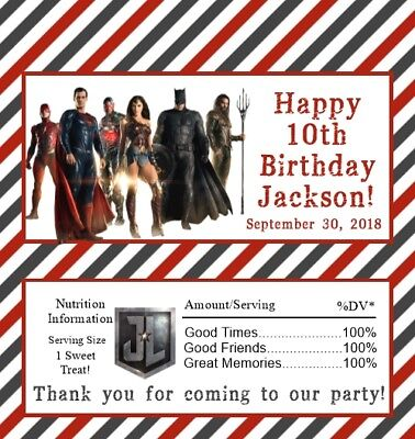 25 Super Hero (Pick a Style) Personalized Birthday Candy Bar Wrappers