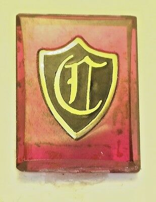 """NOS Antique Vintage Deco Red  Rectangle Stone w/ Initial """" C """" Old English  #B7"""