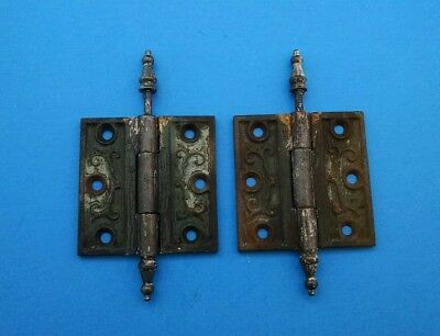 Ornate Eastlake Victorian Cast Iron Door Hinge Pair Vintage Antique
