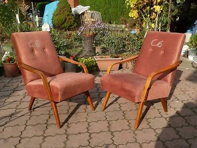 C6 RETRO VINTAGE PAIR of ARM CHAIRs from CZECH produced around 1960-70th