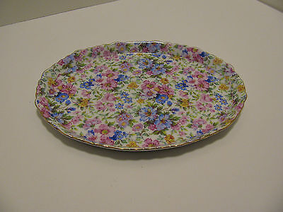 """Delton """"Chintz"""" Pattern Oval Small Tea Set Tray - Floral Motif With Gold Trim"""