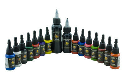 Dragon Hawk 14x15ml + 30&60ml Tribal Black Profi Tattoofarben Set Tattoo Farben