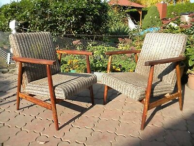 1P RETRO VINTAGE PAIR of ARM CHAIRS produced in 1960-70th
