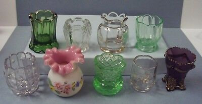 EAPG Pink Cased Green Purple Clear Glass Toothpick Holder Collection Lot of 9
