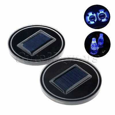 2Pcs Car Solar Cup Holder Bottom Pad Mat LED Light Cover Trim Atmosphere Lamp