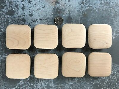 Lot of 8 vintage mid century large square unfinished wooden cabinet drawer knobs