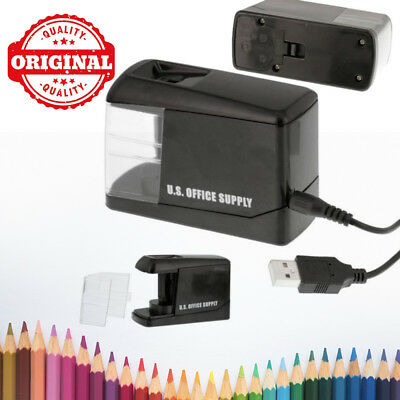 Electric Pencil Sharpener Automatic Black USB Cable or Battery for Home / Office