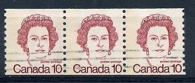 Weeda Canada 605 F used coil strip of 3, G2aL 1-bar tag error, 10c dark carmine