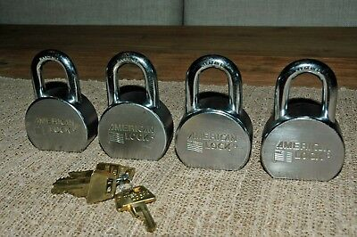 American Lock A700 Padlock Set of 4 Keyed Alike, Hardened Boron Alloy Shackle
