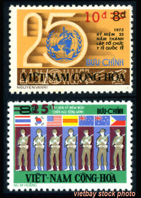 SOUTH VIETNAM 1975 Surcharged Stamps w 2 Bars in Red, Scott 515-516 MNH Cat. $28
