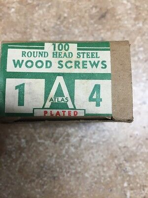 Vintage Atlas #4 X 1 Inch Round Head slotted Steel  Wood Screws 100 per box