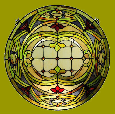 """~LAST ONE AT THIS PRICE~  Tiffany Style Stained Glass 24"""" Round Window Panel"""