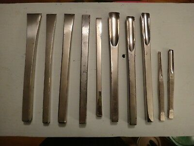 Antique 19th Century Surgical Chizel & Gouge Set Nickel Plated Maker Marked