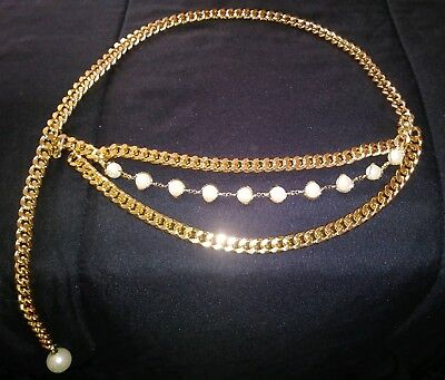 Vintage 1990's Gold Chain Pearl Belt Selena Quintanilla Inspired