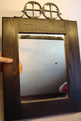 RARE Fine ANTIQUE ROYCROFT MISSION OAK Arts & Crafts Mirror MARKED BRANDED ORB