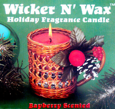 Vtg 1987  NOS Wicker N' Wax Christmas Holiday Candle Bayberry Scent VMC