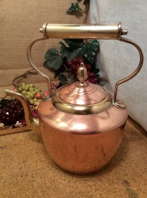 Solid Copper Victorian Tea Pot Kettle 21cms Tall