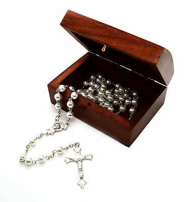 Catholic Glass Pearl Prayer Beads Rosary Silver plated cross crucifix wooden box