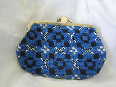 Vtg Bright Blue White Black  Wool Hand Woven Coin Change Purse Wales Kisslock