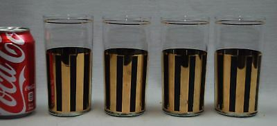 4 Culver 12 oz Tumblers Black w 22kt Gold Accents Mid Century Modern Free Shipp