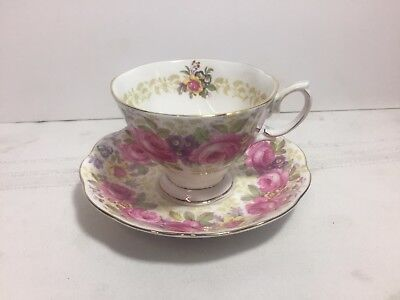 Vintage 1940s Royal Albert Bone China England Lady Carlyle Tea Cup and Saucer