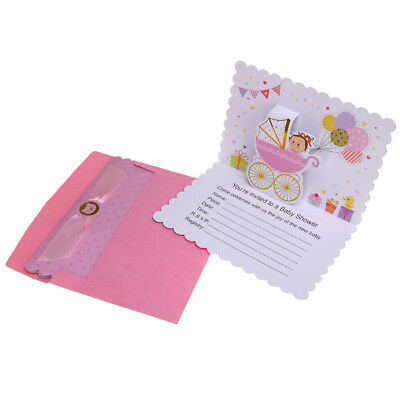 Baby Shower Girl Pop-Up Invitations, Pink, 6-3/4-Inch, 10-Count