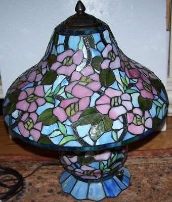 Contemporary Stained Glass Shade & Base Table Lamp 2007 Multi Color