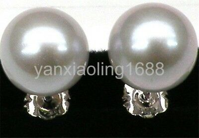 18k white gold genuine super 10mm perfect round silver gray akoya pearl earring