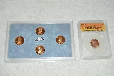 2009-S Lincoln Bicentennial Cent Proof Set & 2009-P Lincoln Log Cabin ANACS-MS67