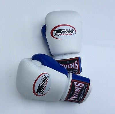 Twins Special Bgvl-3T White/Blue 10oz Muay Thai/ Boxing Gloves