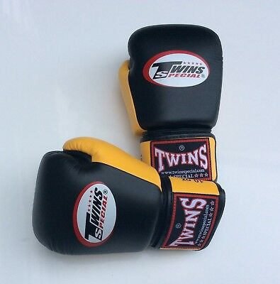 Twins Special Bgvl-3T Blk/Yellow 10oz Muay Thai/ Boxing Gloves