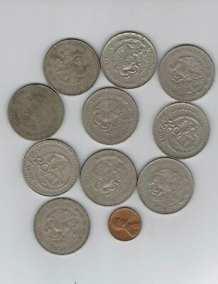 MEXICO lot $20 PESO vintage  large 10 COINS  wholesale 20 peso