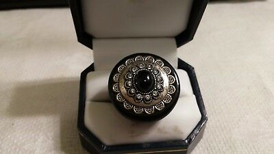 Vintage Black Plastic Silvertone Metal Concho Clear Crystal Ring Size 6