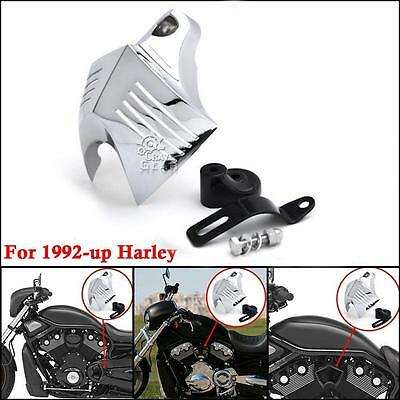 5fcdbe26 Chrome Twin Horn Cover V-Shield Cowbell For Harley Street Bob Super Wide  Glide