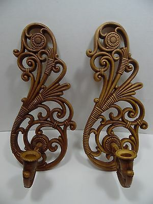 Vintage Home Interiors Candle Sconce Set of 2 Brown 3317 Homco Dart Made in USA