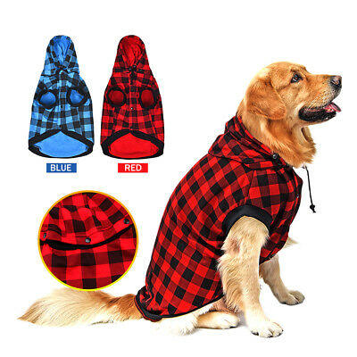 Pet Large Dog Coat Jacket Removable Hoodie Sweater Winter Warm Clothes L-XL