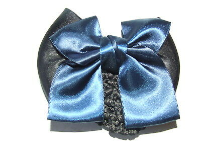 Ecotak Bow Hair Clip with Hair net/snood - black & Navy blue with tails. Ecotak