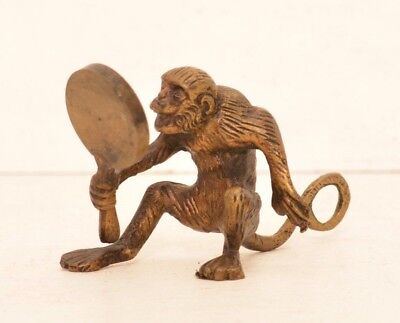 Vintage Brass Monkey Holding Mirror Small Figurine Bronze Antique Cute Long Tail
