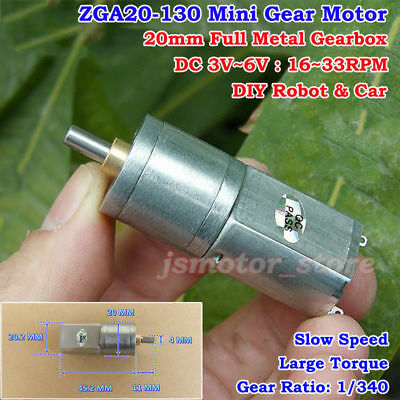 DC 3V 5V 6V 33RPM Slow Speed 20mm Mini Full Metal Gearbox Gear Motor Robot Car