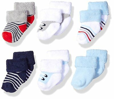 Luvable Friends Baby Newborn Terry Socks, 6 Pack, Boy Shoes, 0-3 Months