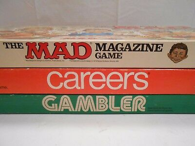 Lot Of (3) Vintage Parker Brothers Bros. Board Games- Mad, Gambler, & Careers